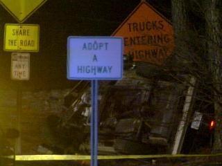 morrisville overturned car