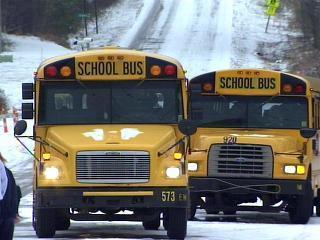 school buses caught in snow