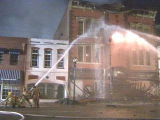 Crews battle a blaze at Goldsboro's historic Paramount Theatre on Feb. 19, 2005.