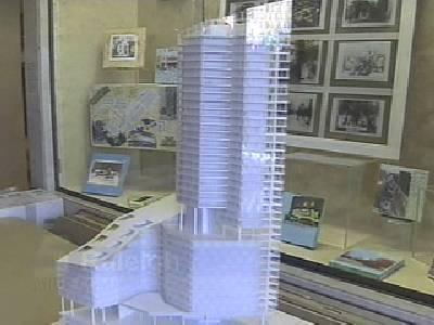 A model of the 43-story Soleil Center that was to be built next to Crabtree Valley Mall on Glenwood Avenue in Raleigh. The Soleil Center was billed to be the city's tallest high-rise, but it never got off the ground.