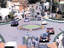 An artist's rendering of what proposed roundabouts could look like on Hillsborough Street near North Carolina State University.