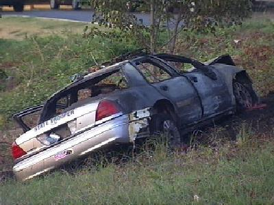 State Trooper Taken To Hospital After Crash, Fire