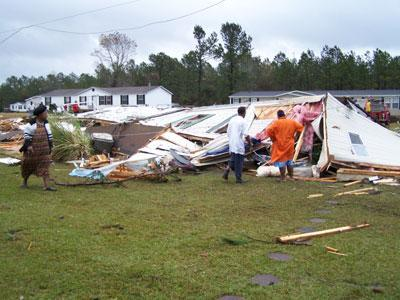 Riegelwood residents begin the long recovery process following a tornado that hit the area on Nov. 16, 2006.