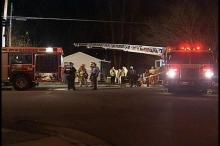 An apartment building at the corner of Poole Road and Fisher Street suffered extensive damage after a candle ignited a blaze inside.