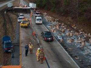 Two southbound lanes of Interstate 95 were shut down after a tractor-trailer accident. (Photo taken by Bob Sanders)