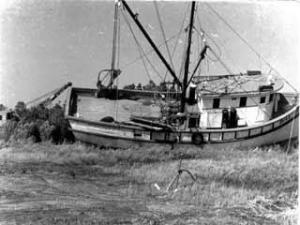 October 1954: Southport, N.C. <br /><b>A boat stranded by Hazel</b> <br />Photo courtesy: Leila Pigott