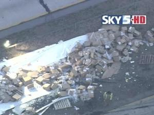 A tractor-trailer carrying frozen chicken tenders overturned Monday morning in Vance County.