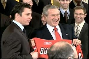 The Canes, bringing the Stanley Cup to the White House during a visit with President Bush, gave the 43rd president a team jersey with that number and his name on it.