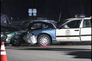 A Raleigh police cruiser was involved in a five-car collision late Saturday afternoon.