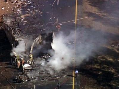 SKY 5 - Tractor-Trailer Crash on I-85
