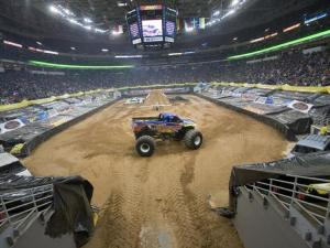 The RBC Arena transformed into a dirt-filled race track for the enormous vehicles.