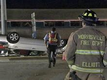 Train Smashes Empty Car in Morrisville
