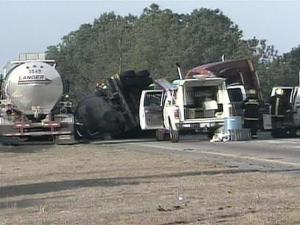 Authorities said a drunken driver went the wrong way on Interstate 95 and hit a tanker truck.