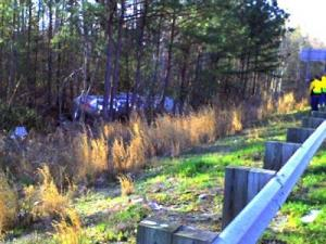 A tanker truck overturned in a wooded area off Interstate 40 in Johnston County. (Photo: Rod Overton)