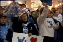 Fans cheer for keeping Duke women's basketball coach Gail Goestenkors in Durham,