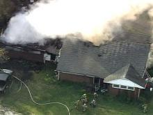 WEB ONLY: Sky 5 Coverage of Fuquay-Varina Fire
