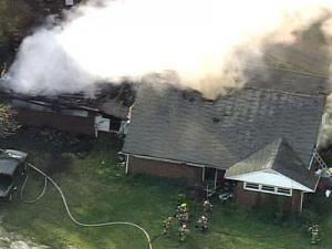 Fire crews battled a blaze inside a Fuquay-Varina house early Tuesday evening.