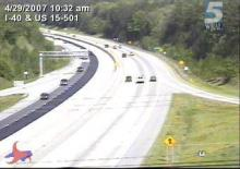 The westbound view on Sunday, April 29, 2007, from the traffic camera at Interstate 40 and U.S. 15-501 shows where asphalt has been laid in part of the eastbound lanes as the state's repaving project progresses.