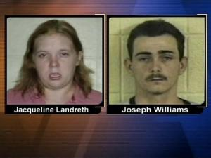 Authorities say a Fayetteville couple had a child in the back seat of their vehicle when the pair attempted to run over a man.
