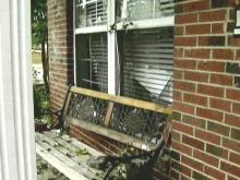 A car went out of control on North New Hope Road early Sunday, May 13, 2007, and crashed into a wall marking the entrance to a subdivision, rolling over and throwing two people from the vehicle. (Bobbie Eng photo)