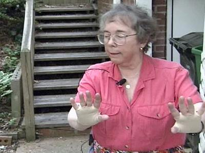 Betsy Hannah had to get physical while keeping two men claiming to be salesmen from entering her home.