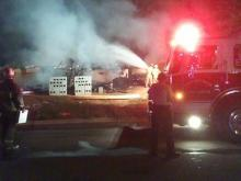 Firefighters put out a fire at a house under construction on Muirfield Ridge Drive.