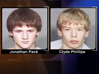Wake Forest-Rolesville High School students Jonathan Pack and Clyde Phillips, both 16, were arrested May 25 after school officials caught them allegedly setting a fire in a wooded area near campus.