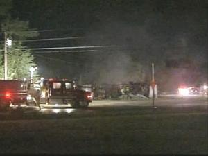 BC Metal Fabrication, a company that makes trailers, caught fire Saturday night.