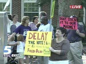 Wake County parents held a rally Monday in support of magnet schools.