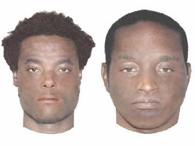 Wake County authorities are searching for the two men depicted in these composites for questioning in a May 2006 slaying at the In and Out Food Mart on Creech Road.