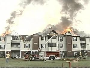 Firefighters determined that lightning began the fire that burned through a common area above the units on the second floor.