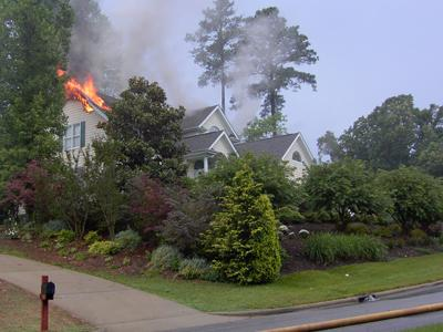 Lightning struck a house at 103 Scotts Cove Lane in Cary on Wednesday, June 13, 2007.