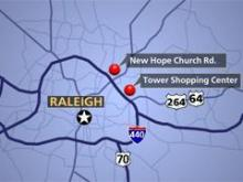Two reports of kidnapping and robbery at two shopping centers in North Raleigh.