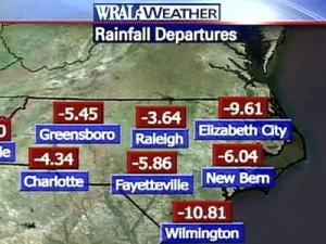 Raleigh's mandatory restrictions took effect Monday, July 2, 2007, and other parts of the state also face reduced rainfall this year.