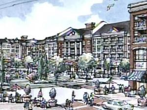 An artist's rendering of the Wade Project near the RBC Center.