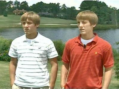 Hunter and Kyle Ocheltree, 15, rescued Donald Thomas from drowning in this pond in the Pinewild Country Club community on July 22, 2007.