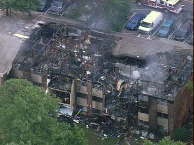 Flames ripped through Brentwood East Apartments on Bonneville Court in Raleigh Monday morning, displacing 70 residents.