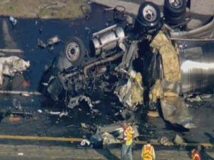 Two tractor-trailers collided on I-95 in Robeson County, killing both drivers.