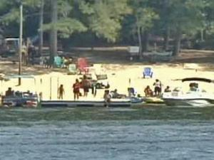 Low water levels forced some boaters to stay on shore at Kerr Lake on Labor Day weekend.