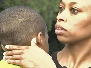 Mercedes Bullock holds her son, Ryan, 5, as she talks about his school bus ordeal.
