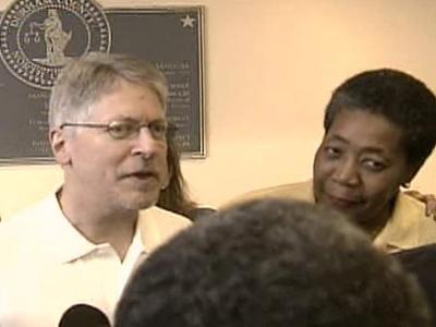 Mike Nifong spoke only briefly after being released Saturday, Sept. 8, 2007, from the Durham County Jail.