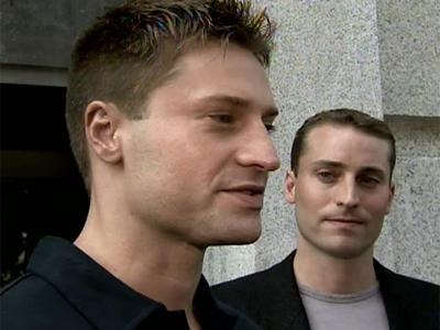 Todd Peterson, the younger son of convicted killer Michael Peterson, speaks to the media Sept. 10, 2007 following oral arguments before the North Carolina Supreme Court to overturn his father's 2003 murder conviction.
