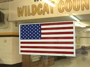 At Hobbton High School, the American flag is prominently displayed on the front door.