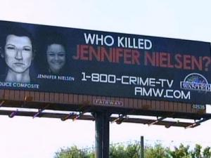 """""""America's Most Wanted"""" unveiled on Tuesday a 14-foot-by-48-foot billboard in an effort to keep the unsolved slaying of Jenna Nielsen in the public eye."""