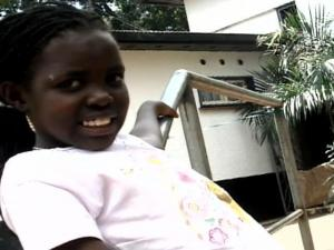 Jane, 9, was attacked during a land dispute in Uganda.