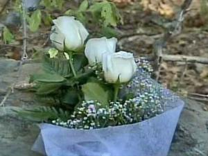 Three roses at the bottom of tree on Fire Tower Road are a roadside memorial for three teenagers and best friends who died in an accident Sunday morning.