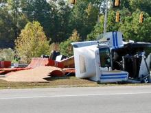Plywood truck wreck