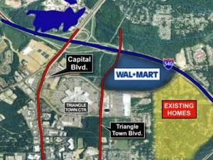 A Wal-Mart Supercenter has been proposed near Triangle Town Center.