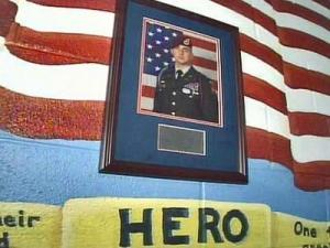 On May 14, 2007, Maj. Larry Bauguess, 36, became the first parent of a student at McNair Elementary to die in combat in at least two years. This Wall of Heroes at the school is dedicated to him.