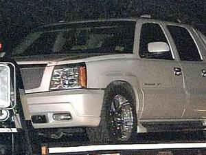 A white pearl 2002 Cadillac Escalade was found at 118 Rod St. in Fayetteville.